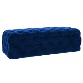 Blue Velvet All Over Deep Tufted Ottoman Bench