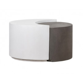 Dark Grey & White Concrete Indoor Outdoor Cocktail Table