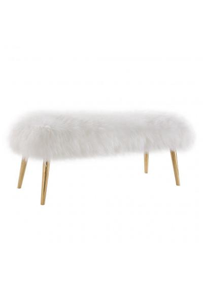 White Sheepskin Bench Gold Metal Legs