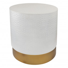 Round White Hammered Gold Base Accent Side Table Stool