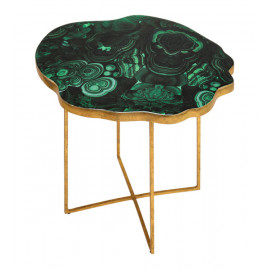 Green Agate & Gold Base Accent Side Table