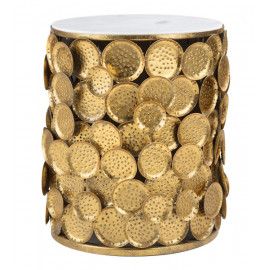 White Marble & Gold Coin Side Accent Table