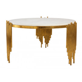 Gold Metal Sculpted Legs White Marble Top Cocktail Table