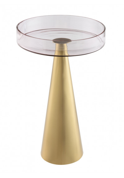 Gold Metal Cones & Pink Glass Accent Tables Set of 2