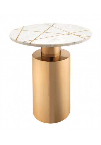 Glam White Marble Geometric Design Gold Base Accent Table