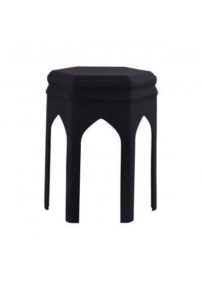 Matte Black Metal Archways & Columns Accent Table