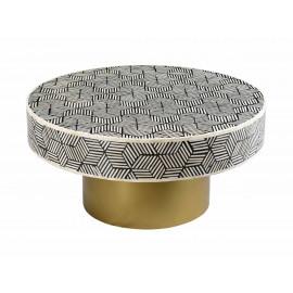 White & Black Bone Inlay Geometric Design Round Brass Base Cocktail Table
