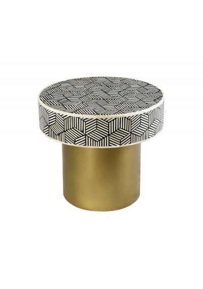 White & Black Bone Inlay Geometric Design Round Brass Base Accent Table