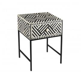 White & Black Bone Inlay Geometric Design Square Black Base Accent Side Table