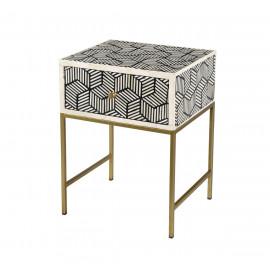 White & Black Bone Inlay Geometric Design Brass Base Accent Side Table