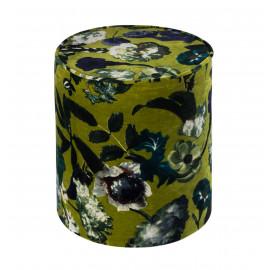 Large Floral Print Round Green Velvet Ottoman Footstool Pouf