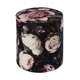 Large Floral Print Round Velvet Ottoman Footstool Pouf