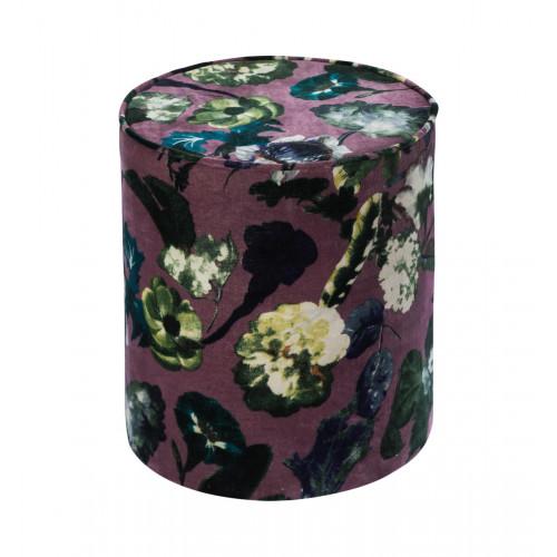 Large Floral Print Round Purple Velvet Ottoman Footstool Pouf
