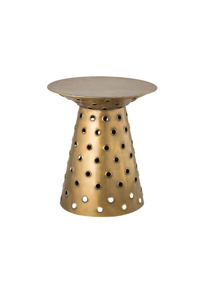 Antique Brass Hourglass Shape Accent Side Table
