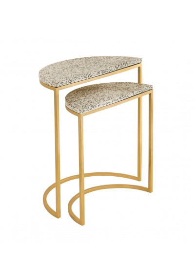 Terrazzo Speckled Stone Gold Base Nesting Accent Side Tables