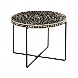 Black & White Bone Inlay Cocktail Accent Table