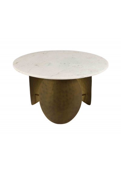 Antique Brass Flat Oval Legs White Marble Round Top Cocktail Table