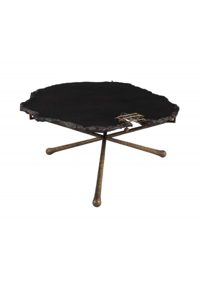 Mid Century Rustic Black Stone Top Hammered Iron Legs Cocktail Tables