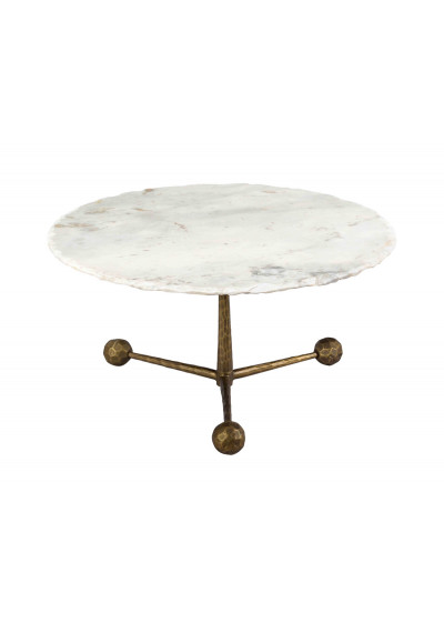 Mid Century White Marble Top Hammered Iron Legs Cocktail Tables