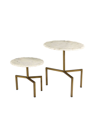 Antique Brass White Marble Top 2 Piece Industrial Accent Side Tables