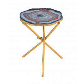 Blue Agate Top Gold Edgy Tripod Legs Accent Table