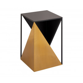 Black & Gold Metal Geometric Sided Accent Side Table