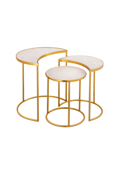 White Marble Gold Base Nesting Accent Side Tables Set 3