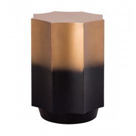 Black & Gold Metal Scalloped Octagon Shape Accent Side Table