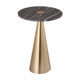 Gold Cone Base Darker Marble Top Accent Side Table