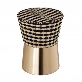 Black & Neutral Woven Checkered Top Gold Metal Base Accent Side Table