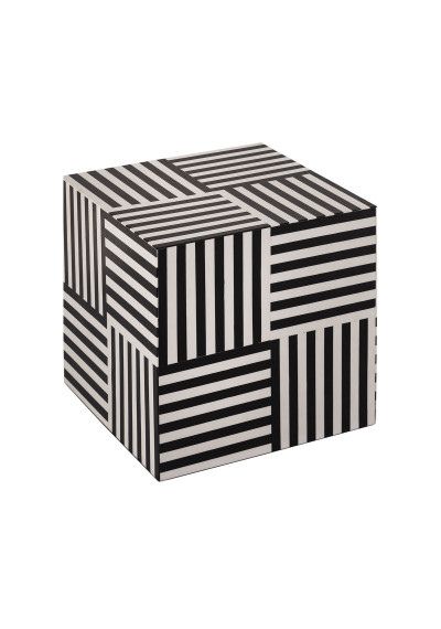 White & Black Geometric Design Square Accent Side Table
