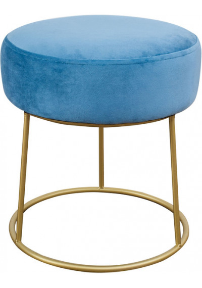 Blue Velvet Round Gold Pedestal Ottoman Footstool