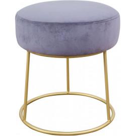 Grey Velvet Round Gold Pedestal Ottoman Footstool