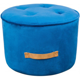 Bright Blue Velvet Round Button Tufted Top Ottoman Footstool