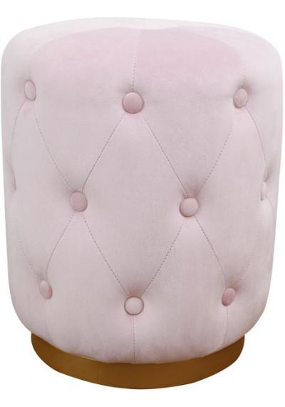 Light Blush Pink Velvet Button Tufted Round Ottoman Footstool Gold Base