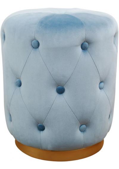 Light Blue Velvet Button Tufted Round Ottoman Footstool Gold Base