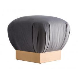 Grey Velvet Mushroom Pouf Footstool Ottoman in Gold Metal Base