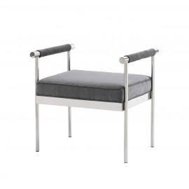 Grey Velvet & Silver Stainless Steel Bench