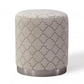 Cream Velvet Quatrefoil Pattern Round Ottoman Footstool