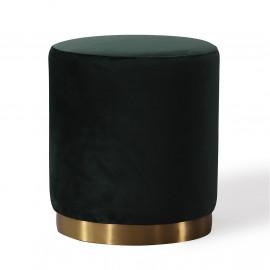 Deep Green Round Velvet Ottoman Footstool Gold Metal Base