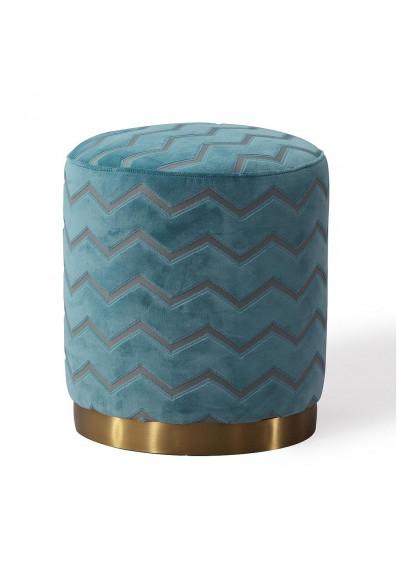 Azure Sky Chevron Pattern Round Velvet Ottoman Footstool