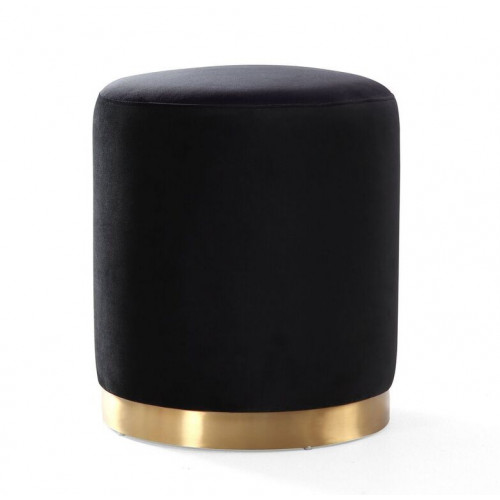 Black Round Velvet Ottoman Footstool Gold Metal Base