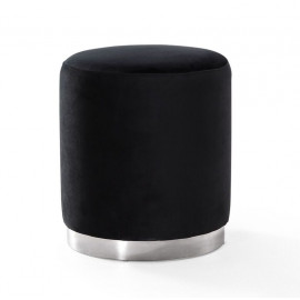 Black Round Velvet Ottoman Footstool Silver Metal Base