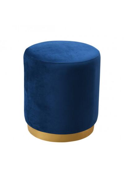 Blue Round Velvet Ottoman Footstool Gold Metal Base