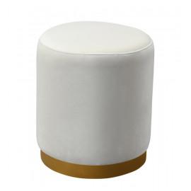 Cream Round Velvet Ottoman Footstool Gold Metal Base