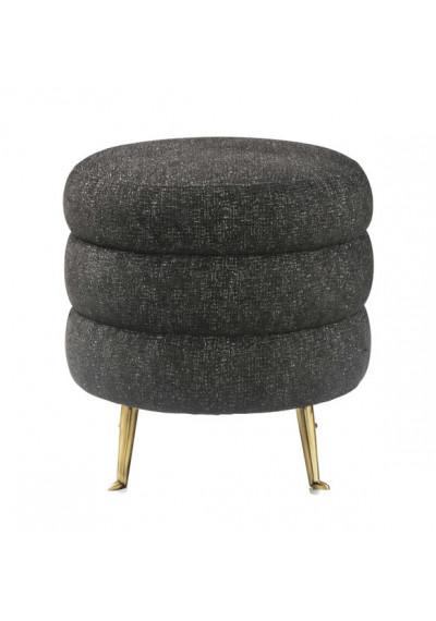 Puffy Layer Black Tweed Ottoman Footstool Gold Legs