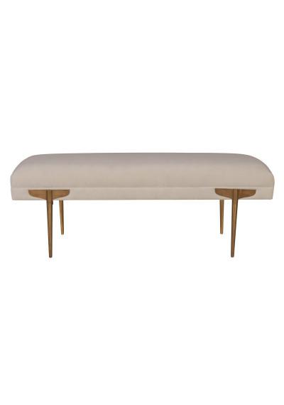 White Ivory Textured Mid Century Velvet Ottoman Bench