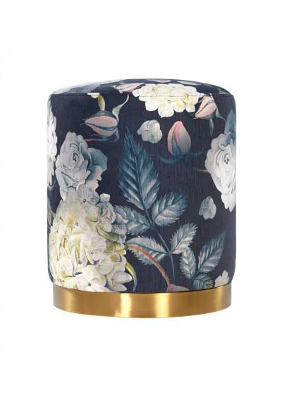 Floral Garden Print Round Velvet Ottoman Footstool