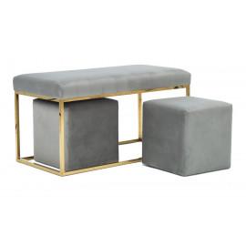 Grey Velvet Bench Gold Legs & 2 Matching Footstools