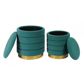 Channel Tufted Teal Round Velvet Storage Ottoman Footstool Set of 2